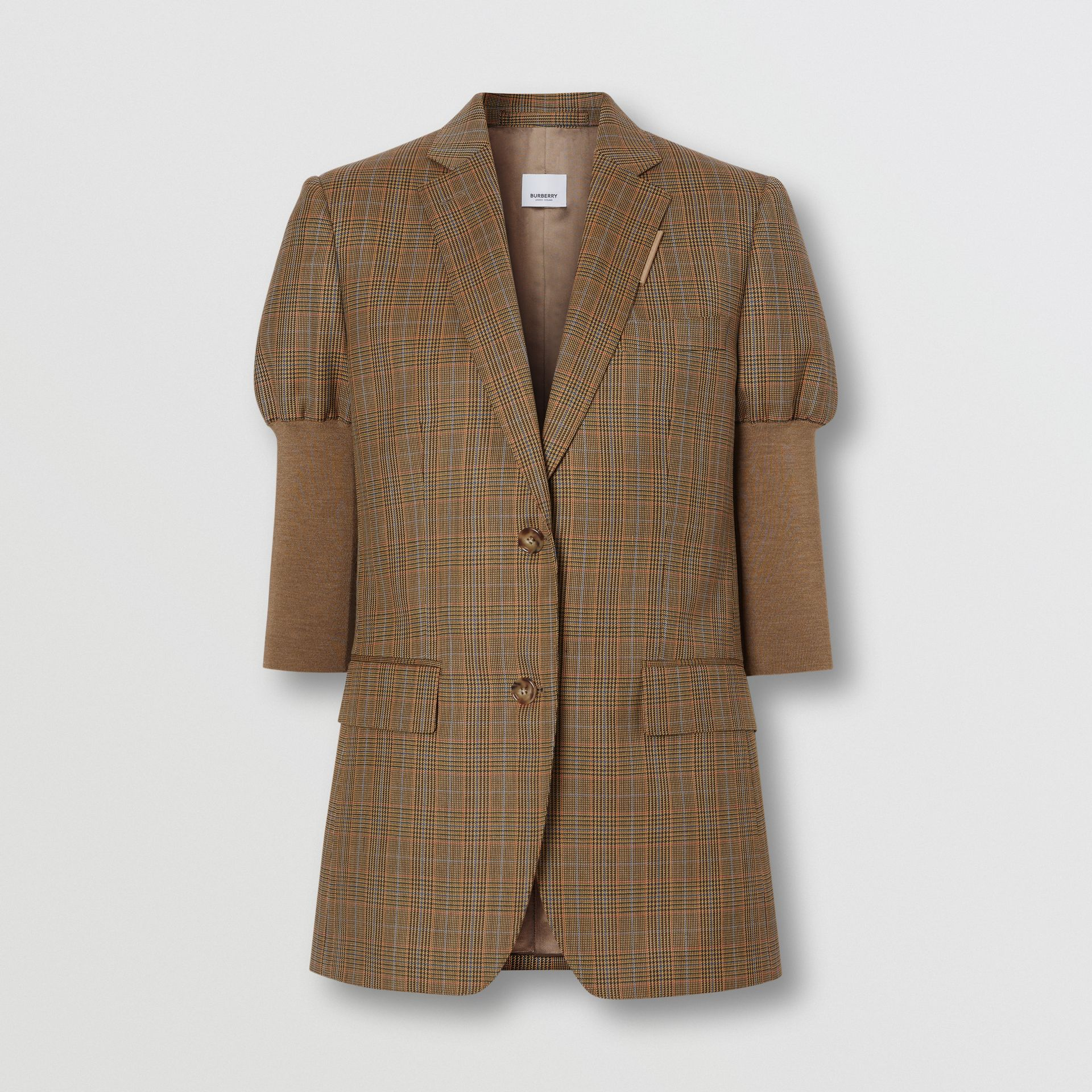 Knitted Sleeve Houndstooth Check Wool Tailored Jacket in Fawn - Women | Burberry Singapore - gallery image 3
