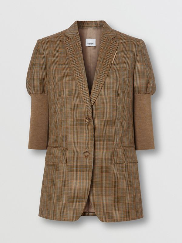 Knitted Sleeve Houndstooth Check Wool Tailored Jacket in Fawn - Women | Burberry Singapore - cell image 3