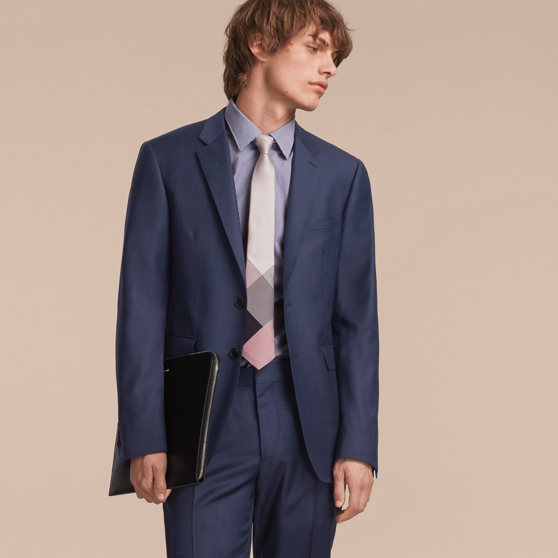 Modern Cut Gingham Check Silk Jacquard Tie in Apricot Pink - Men | Burberry Singapore - gallery image 3