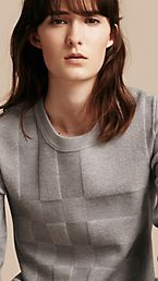 Check Knit Wool Blend Sweater