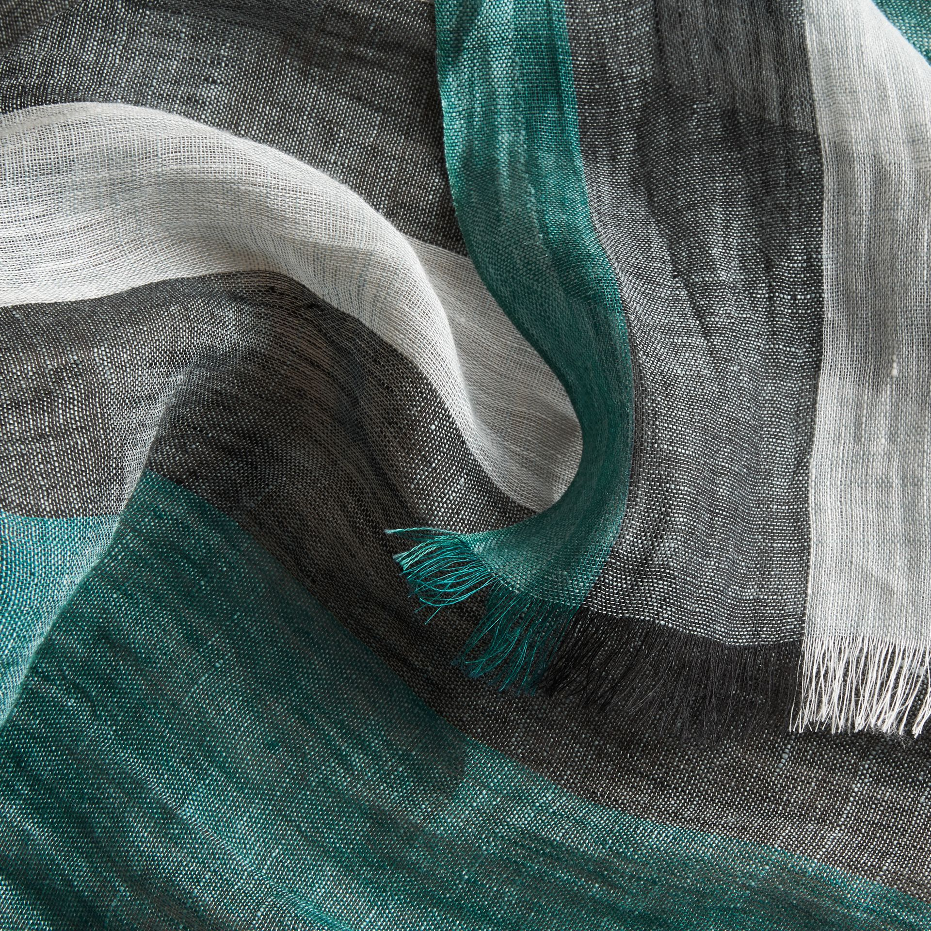 Lightweight Check Linen Scarf in Dark Teal | Burberry - gallery image 2