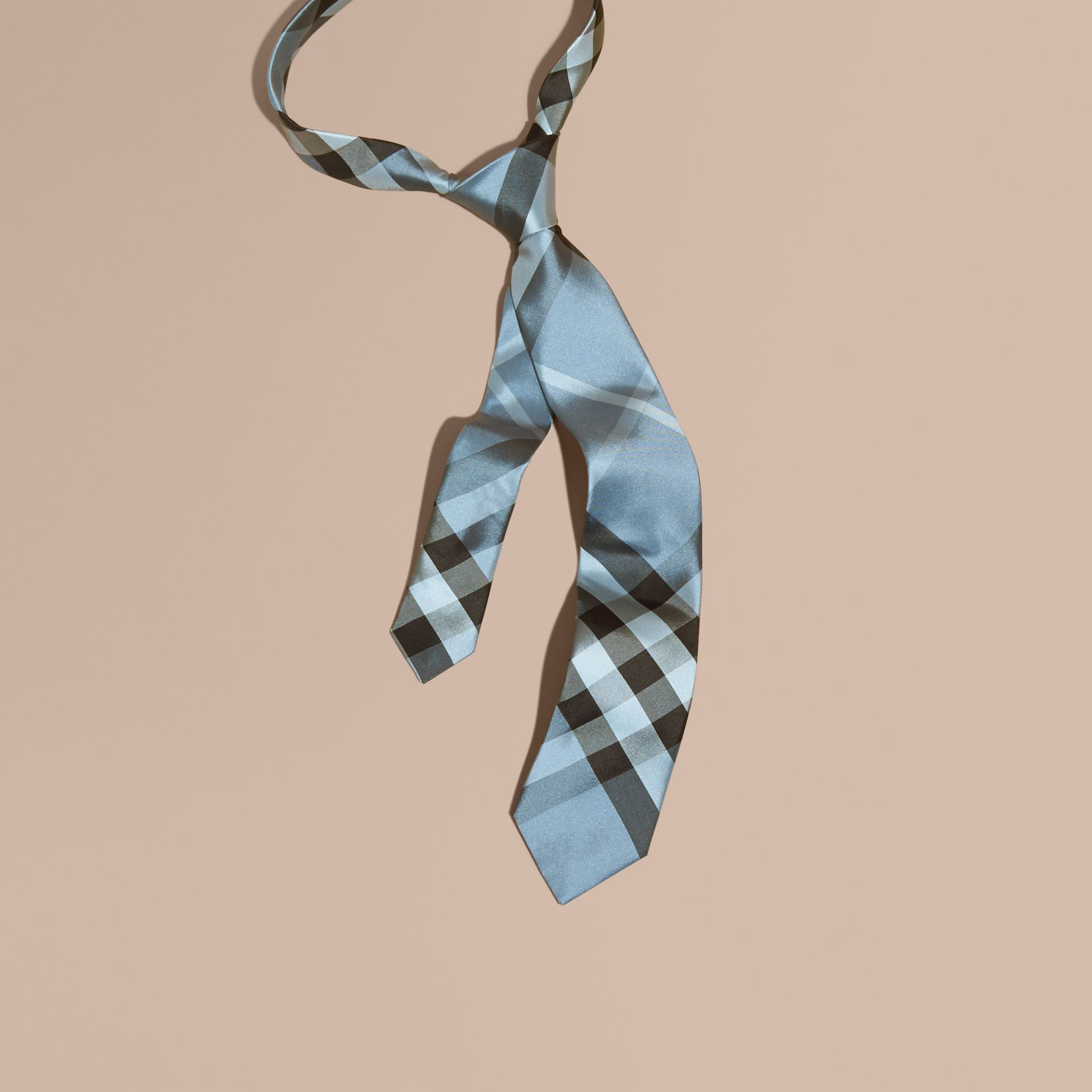 Light blue Modern Cut Check Silk Tie Light Blue - gallery image 1