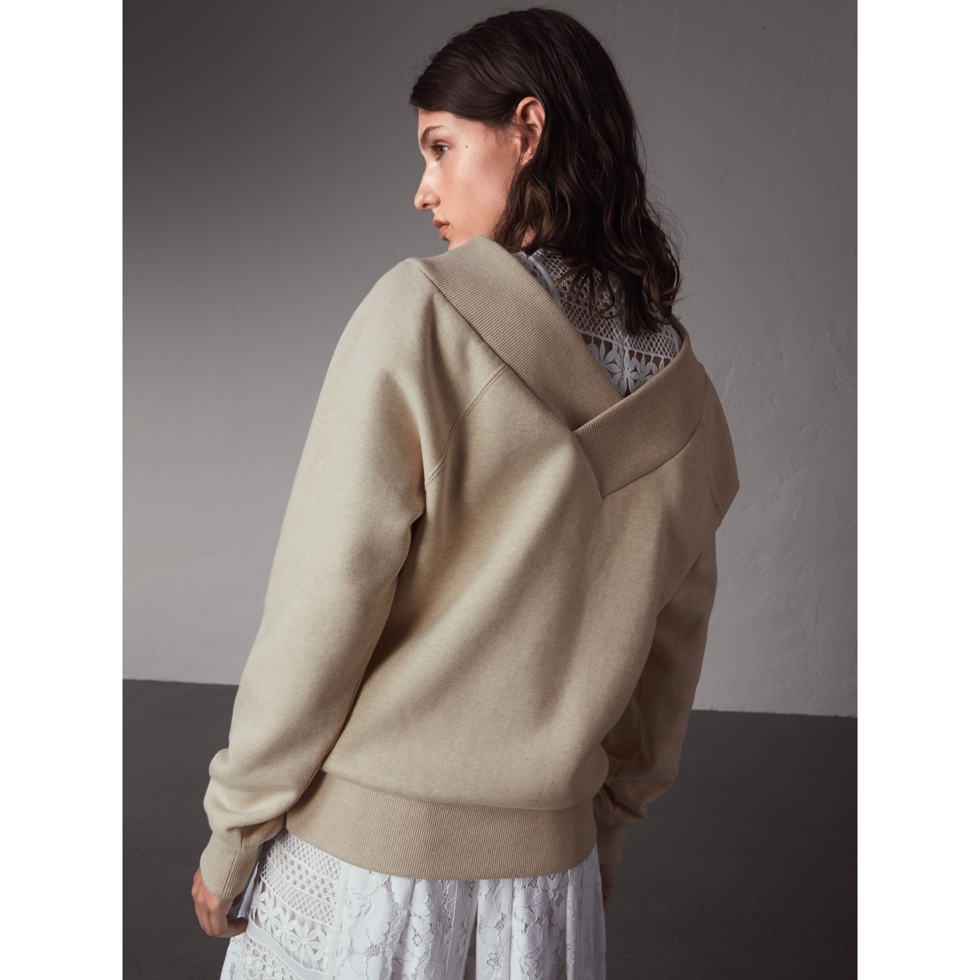Off-the-shoulder Sweatshirt in Oatmeal Melange - Women | Burberry - gallery image 3