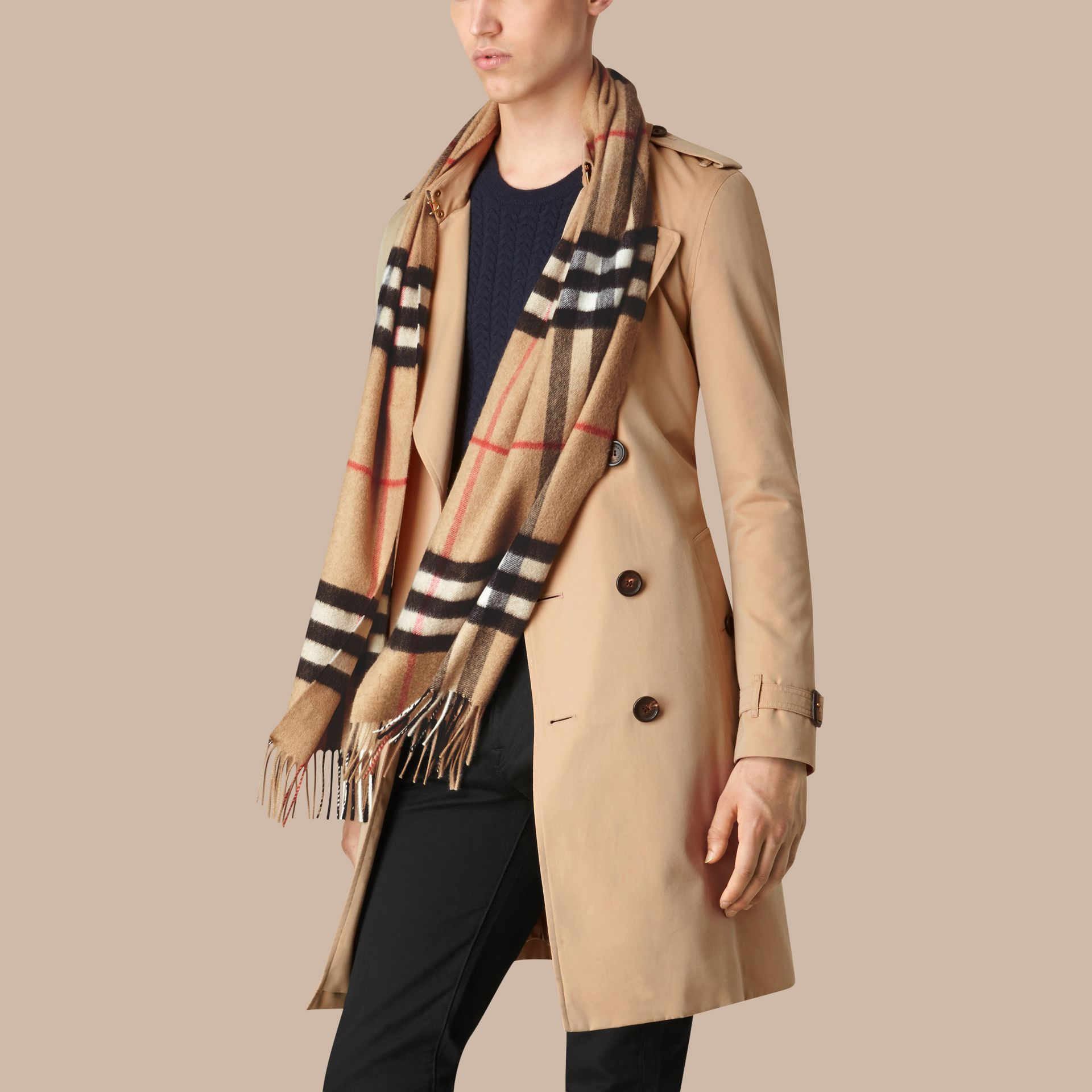 Camel check The Classic Cashmere Scarf in Check Camel - gallery image 4
