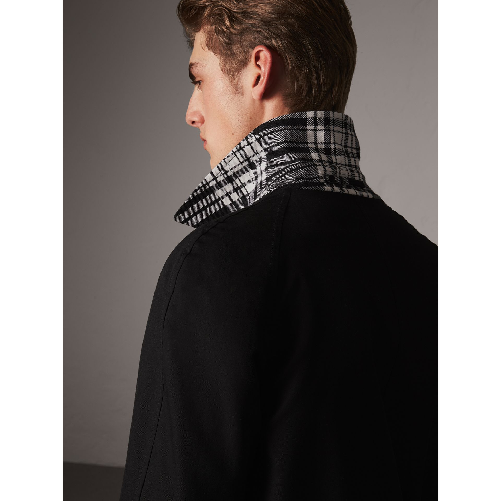Reversible Gabardine and Tartan Wool Car Coat in Black - Men | Burberry - gallery image 1
