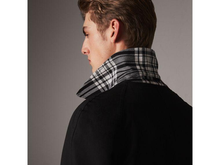 Reversible Gabardine and Tartan Wool Car Coat in Black - Men | Burberry - cell image 1
