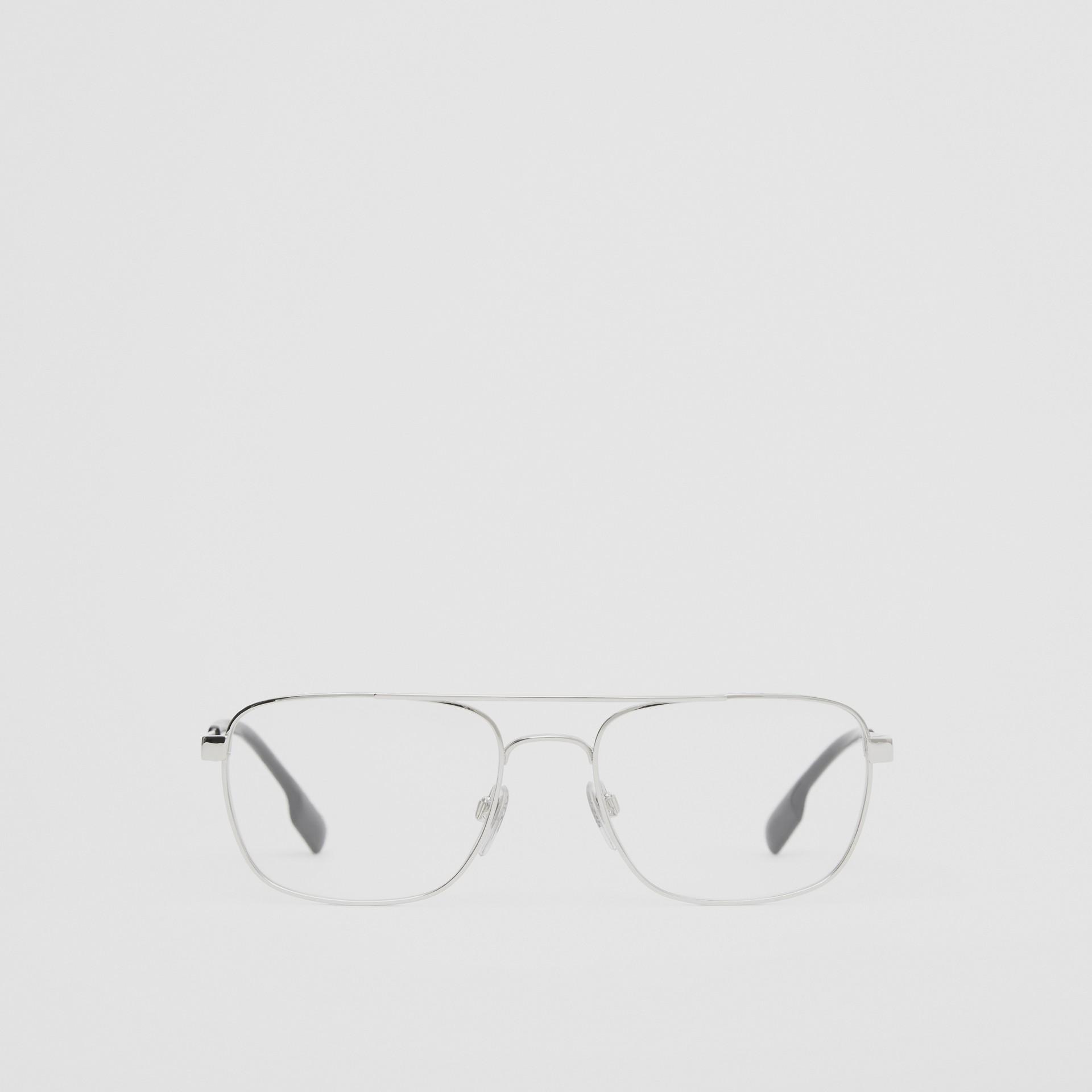 Rectangular Navigator Optical Frames in Silver | Burberry Canada - gallery image 0