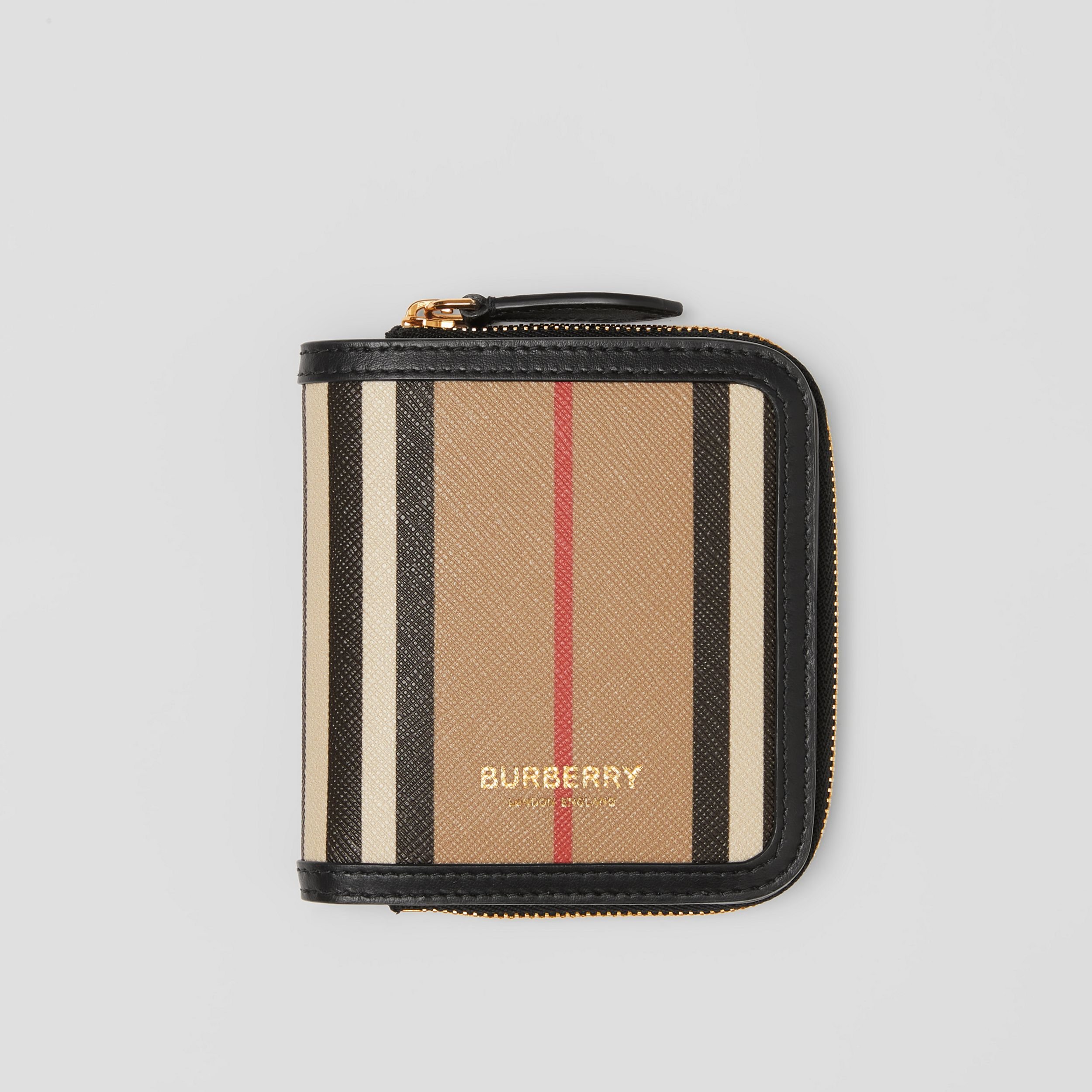 Icon Stripe E-canvas and Leather Folding Wallet in Archive Beige - Women | Burberry - 1