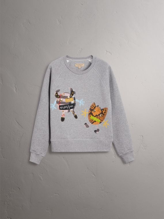 Creature Motif Jersey Sweatshirt in Pale Grey Melange - Women | Burberry Singapore - cell image 3