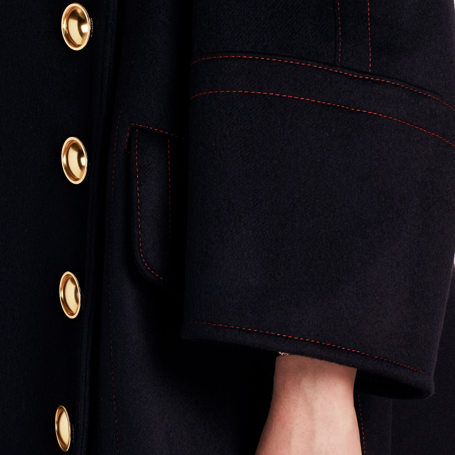 Navy Oversize Cashmere Wool Coat - gallery image 6