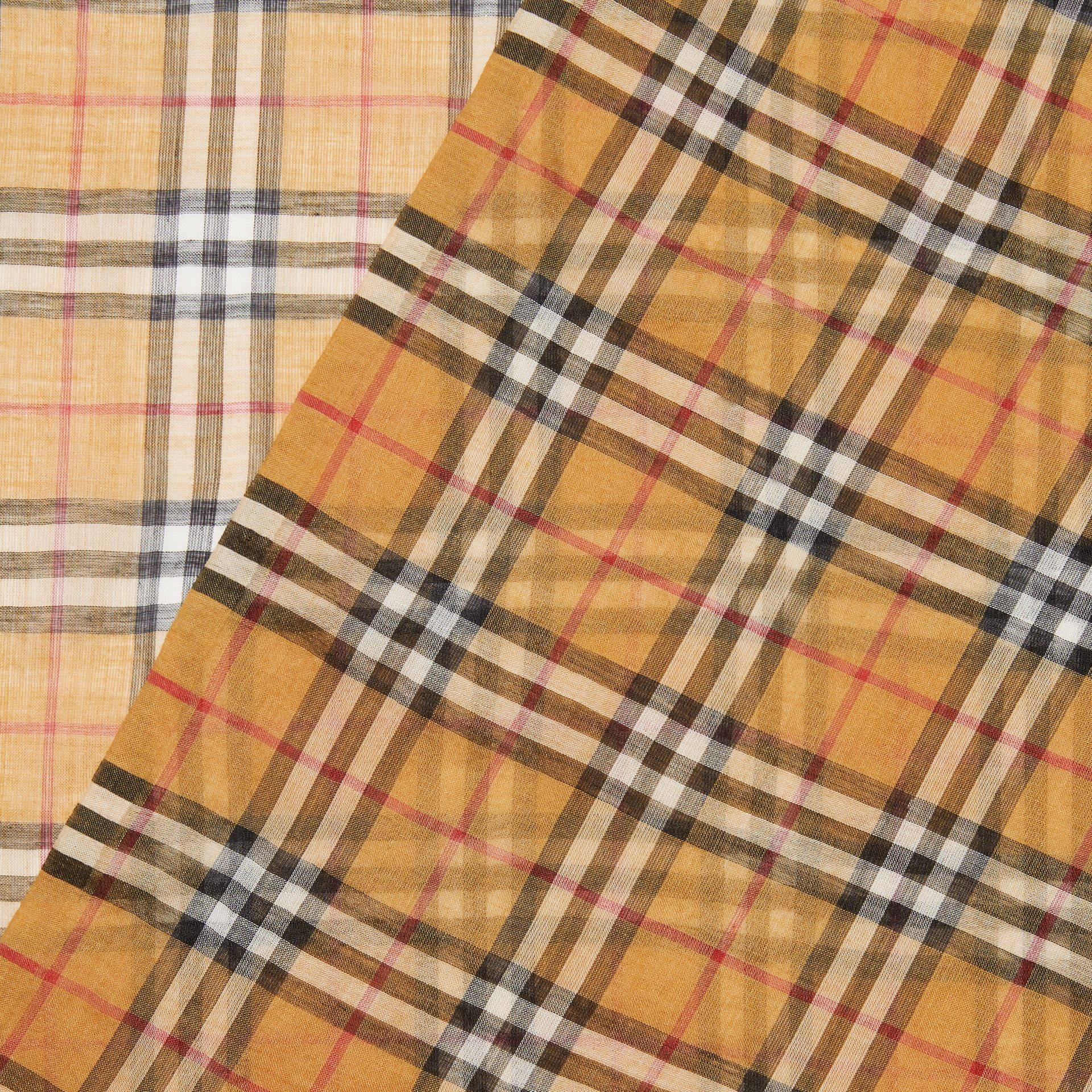 Vintage Check Lightweight Wool Silk Scarf in Antique Yellow | Burberry Singapore - gallery image 1