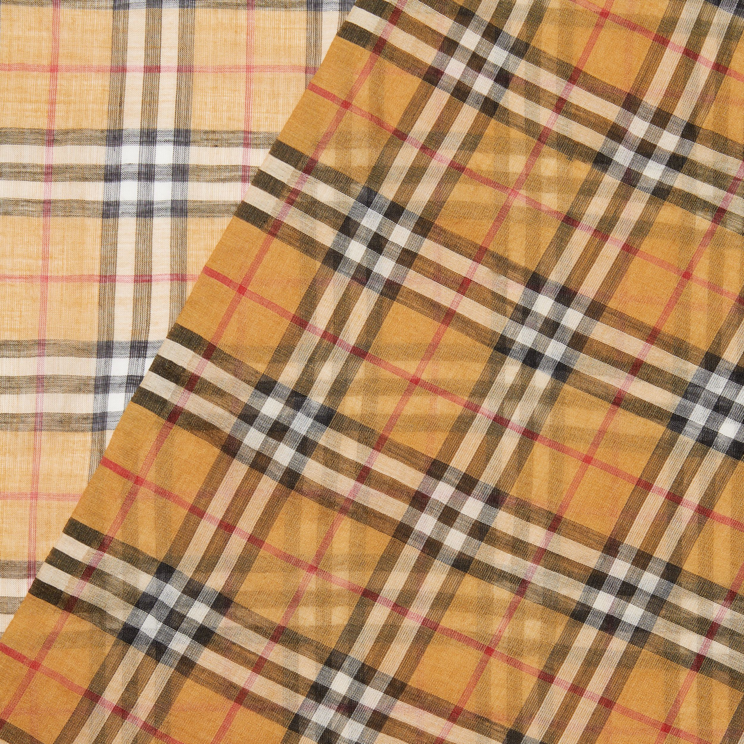 Vintage Check Lightweight Wool Silk Scarf in Antique Yellow | Burberry - 2