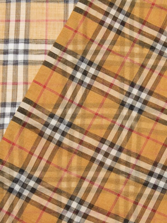 Vintage Check Lightweight Wool Silk Scarf in Antique Yellow | Burberry - cell image 1
