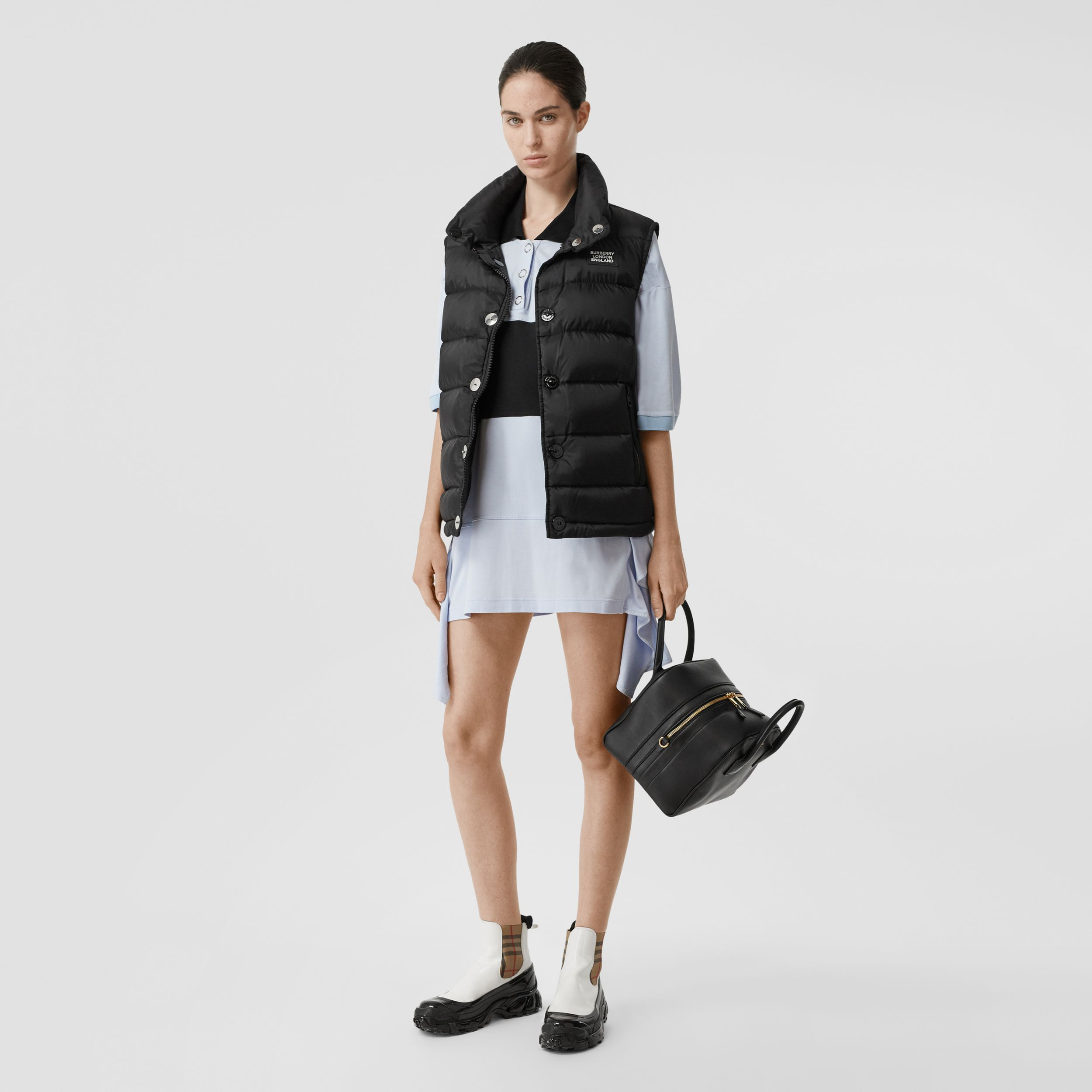 Monogram Stripe Print Puffer Gilet in Black | Burberry - 3
