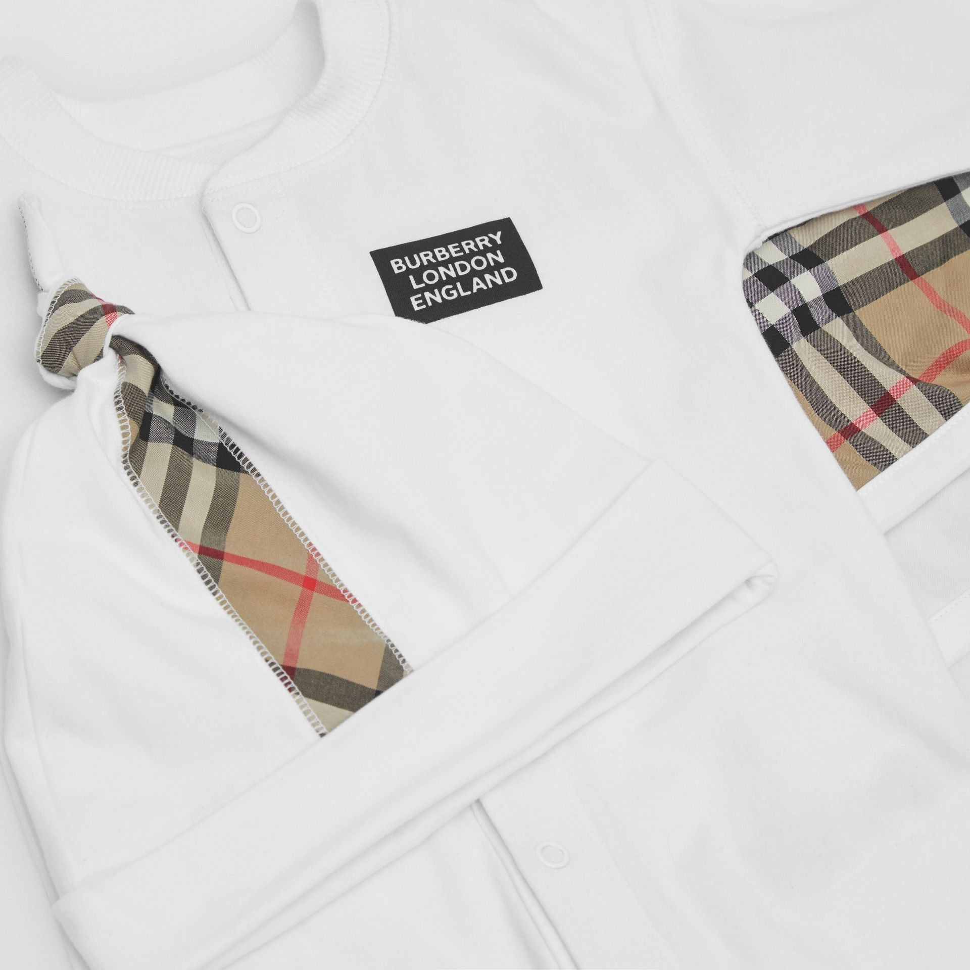 Check Trim Organic Cotton Three-piece Baby Gift Set in White - Children | Burberry United Kingdom - gallery image 1