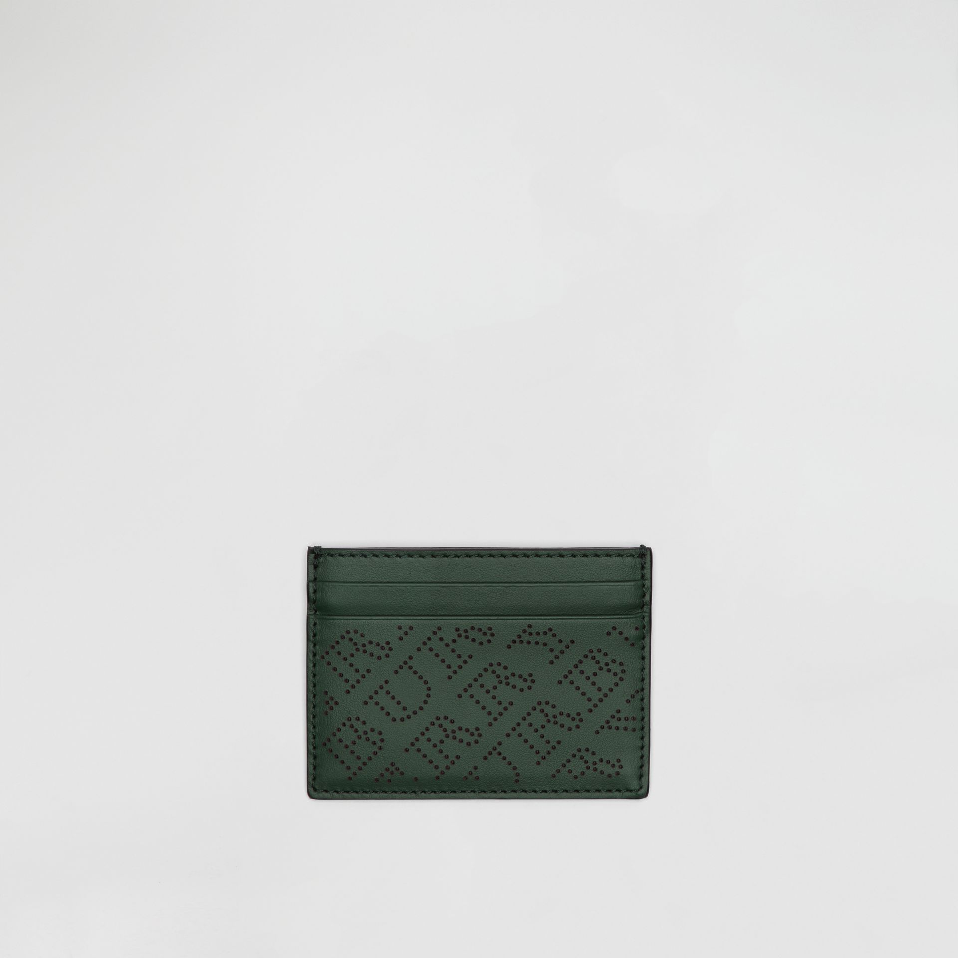Perforated Logo Leather Card Case in Vintage Green - Women | Burberry Australia - gallery image 0