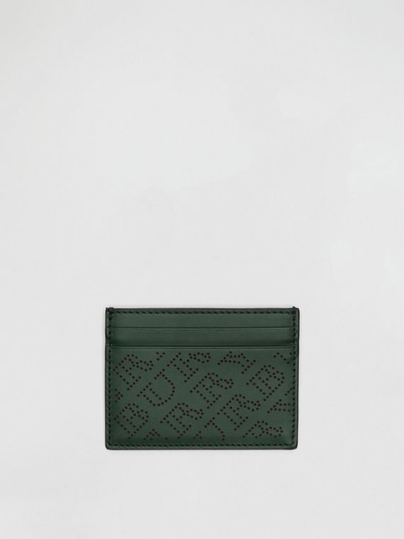 Perforated Logo Leather Card Case in Vintage Green