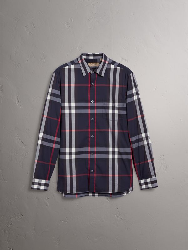 Camicia in cotone stretch con motivo tartan (Navy) - Uomo | Burberry - cell image 3