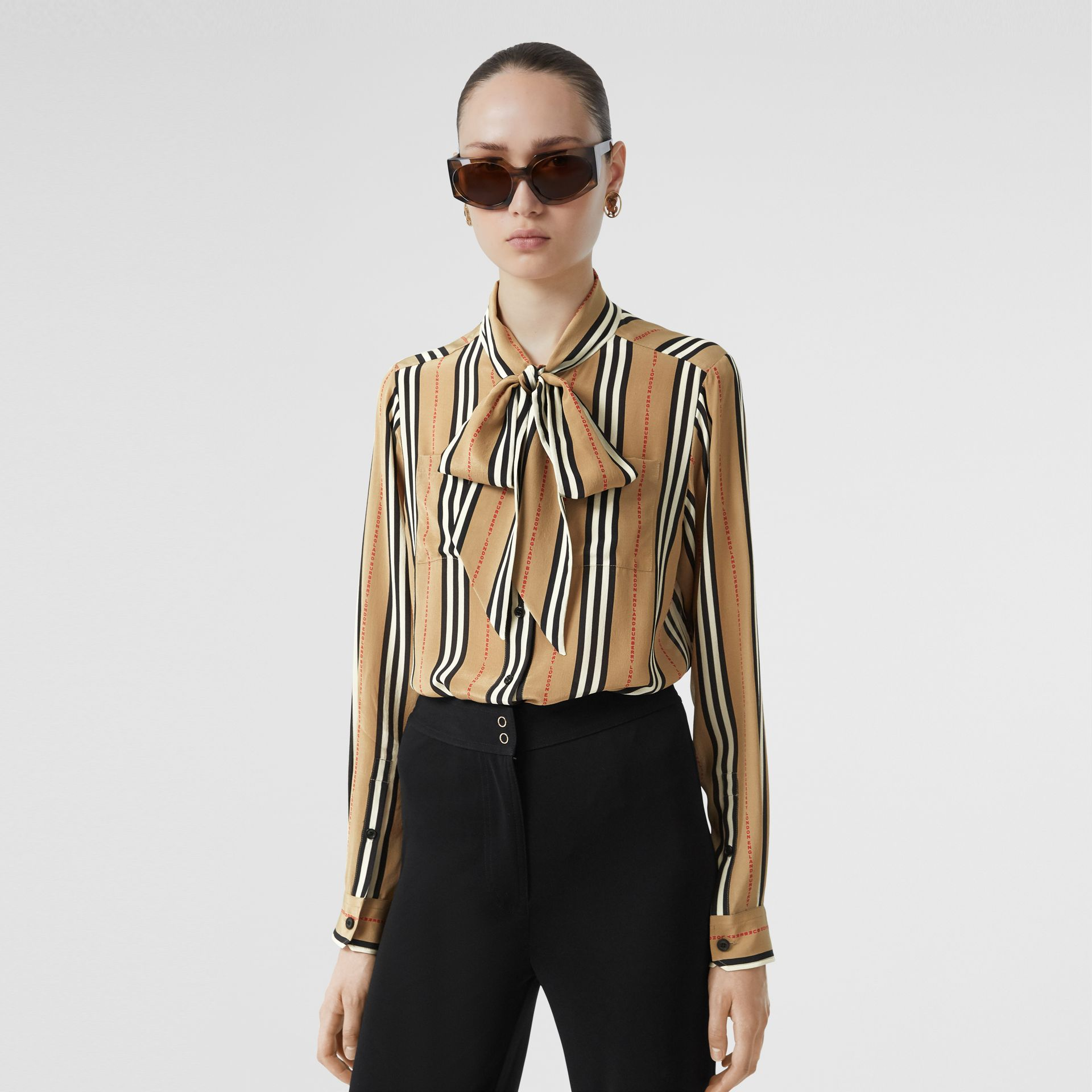 Logo Print Icon Stripe Silk Chiffon Pussy-bow Blouse in Archive Beige - Women | Burberry - gallery image 0