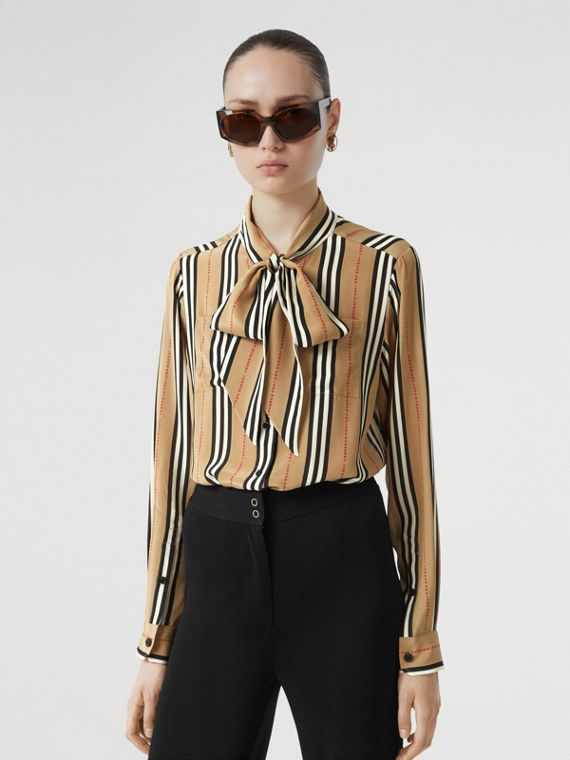 Logo Print Icon Stripe Silk Chiffon Pussy-bow Blouse in Archive Beige