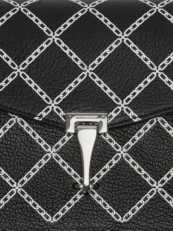 Small Link Print Leather Crossbody Bag in Black - Women | Burberry United Kingdom - cell image 1