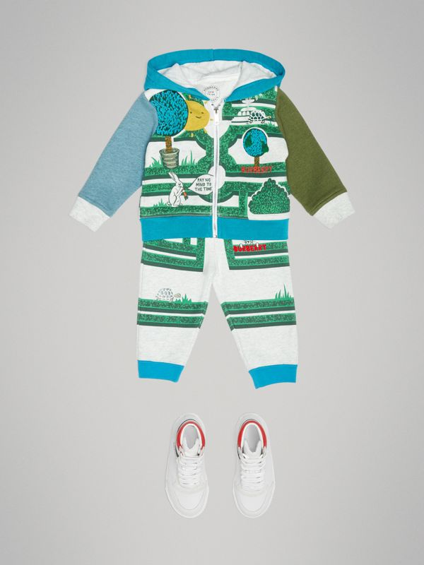 Hedge Maze Print Cotton Hooded Top in Multicolour - Children | Burberry - cell image 2