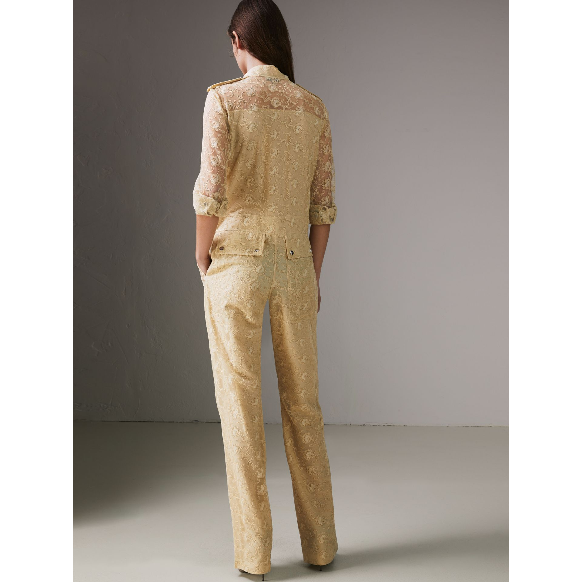 Floral Lace Jumpsuit in Pale Yellow - Women | Burberry United Kingdom - gallery image 2