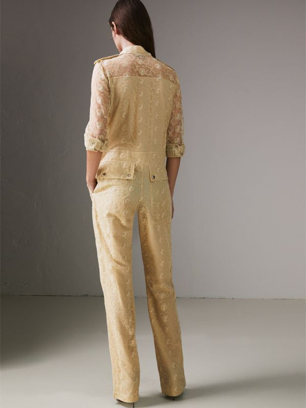 Floral Lace Jumpsuit in Pale Yellow - Women | Burberry - cell image 2