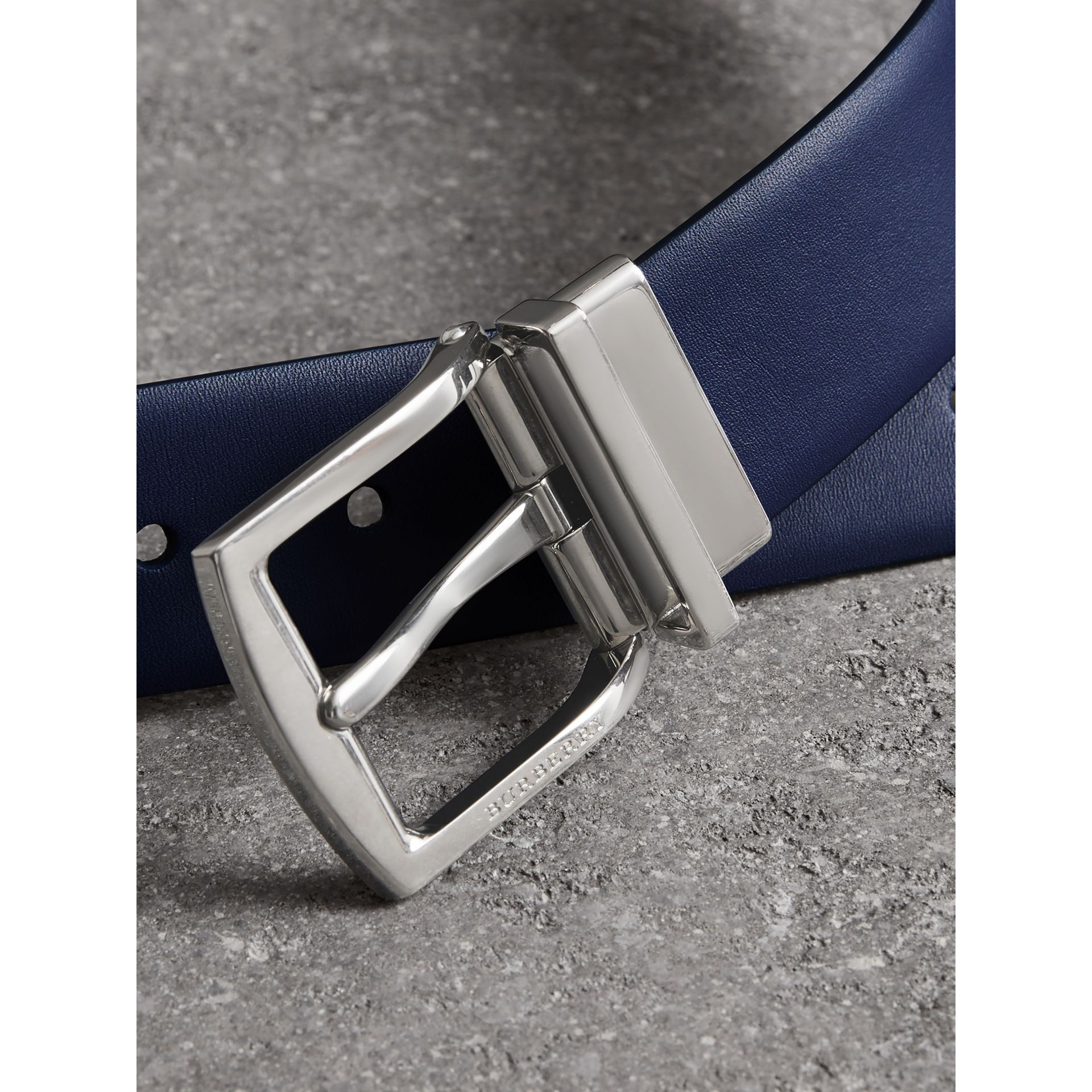 Reversible Leather Belt in Canvas Blue - Men | Burberry - gallery image 1