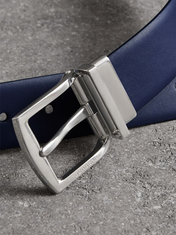Reversible Leather Belt in Canvas Blue - Men | Burberry - cell image 1