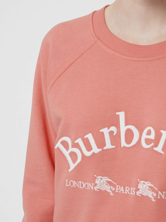 Embroidered Archive Logo Jersey Sweatshirt in Pale Apricot - Women | Burberry Australia - cell image 1