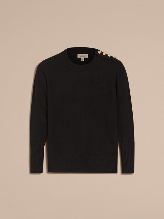 Cashmere Sweater with Crested Buttons in Black - cell image 3