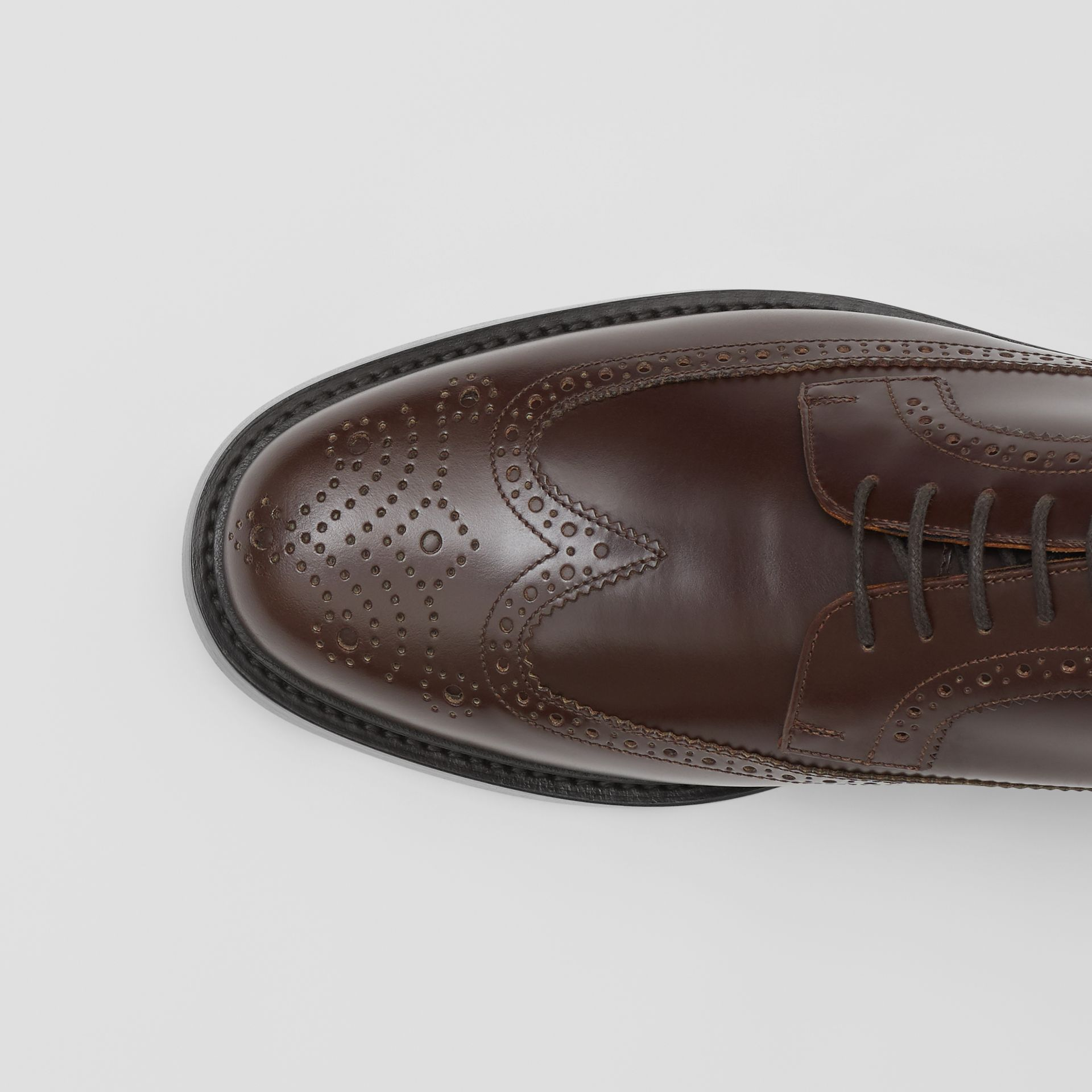 Brogue Detail Leather Derby Shoes in Tan - Men | Burberry - gallery image 1