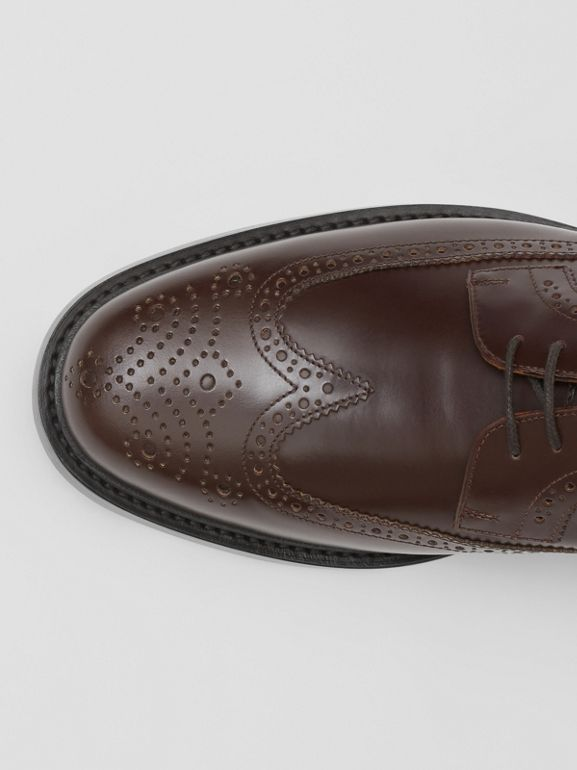 Brogue Detail Leather Derby Shoes in Tan - Men | Burberry - cell image 1