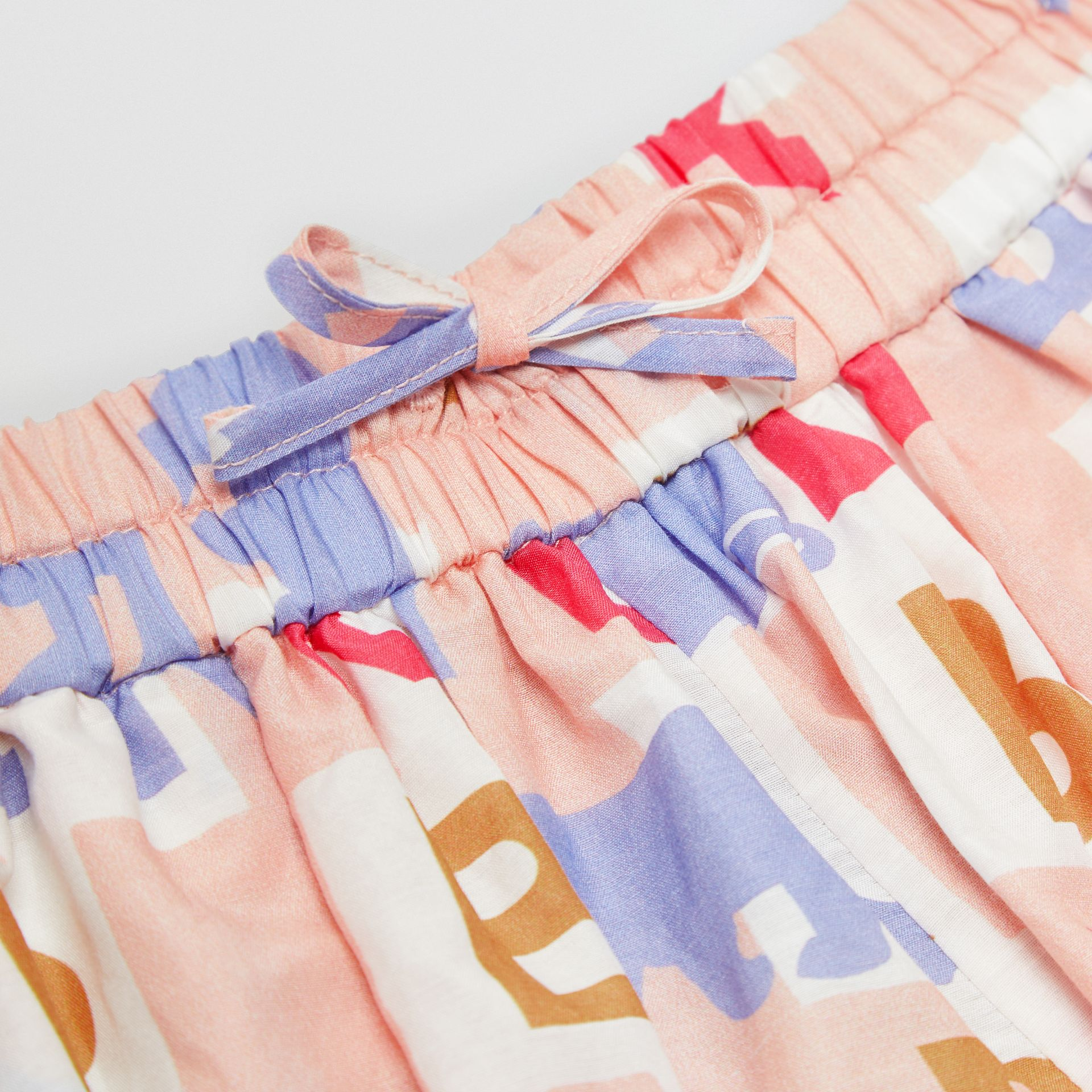 Logo Print Cotton Silk Drawcord Shorts in Pale Rose - Children | Burberry - gallery image 1