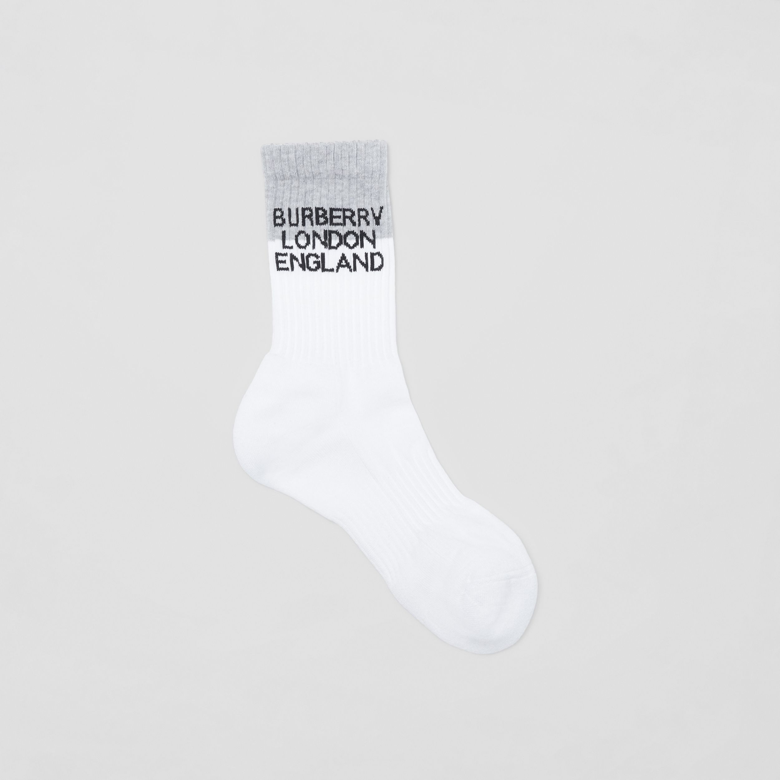 Logo Intarsia Technical Stretch Cotton Socks in White/grey Melange | Burberry - 1