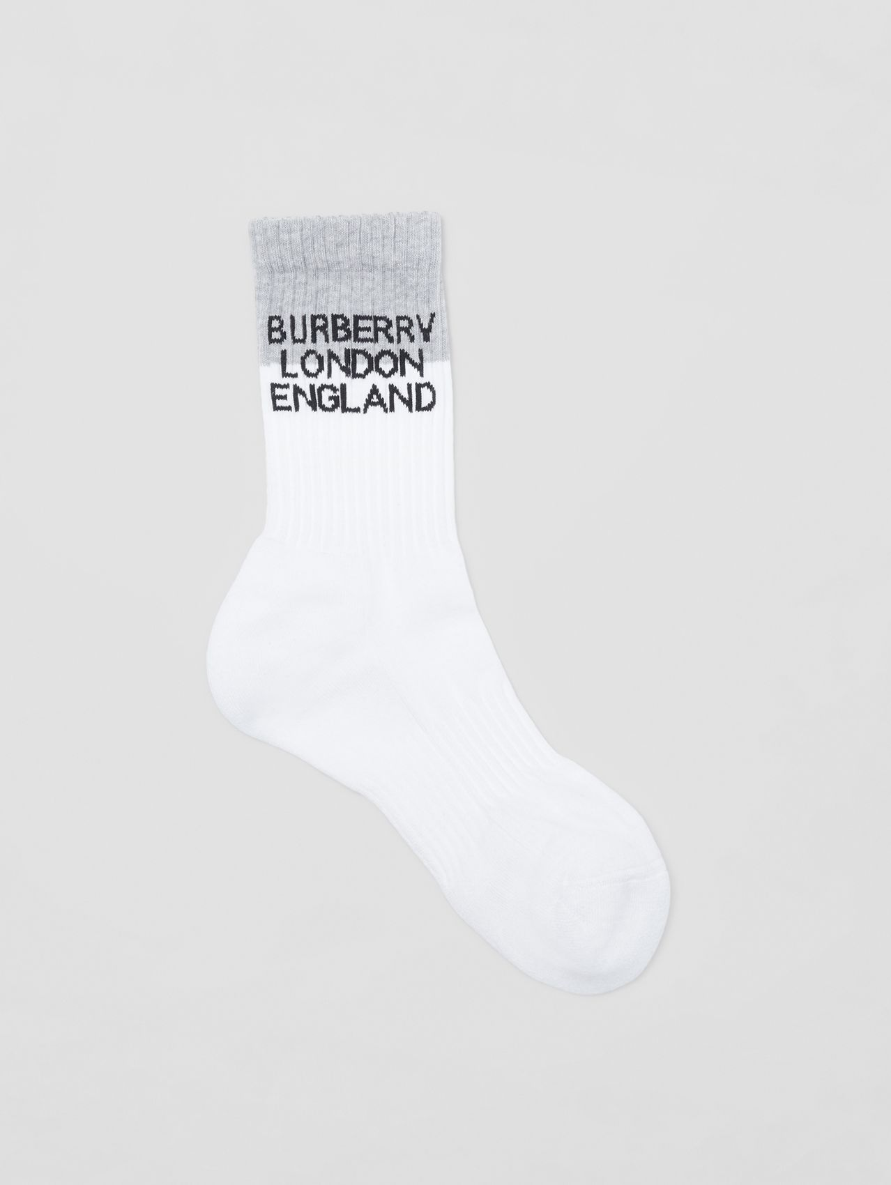 Logo Intarsia Technical Stretch Cotton Socks in White/grey Melange