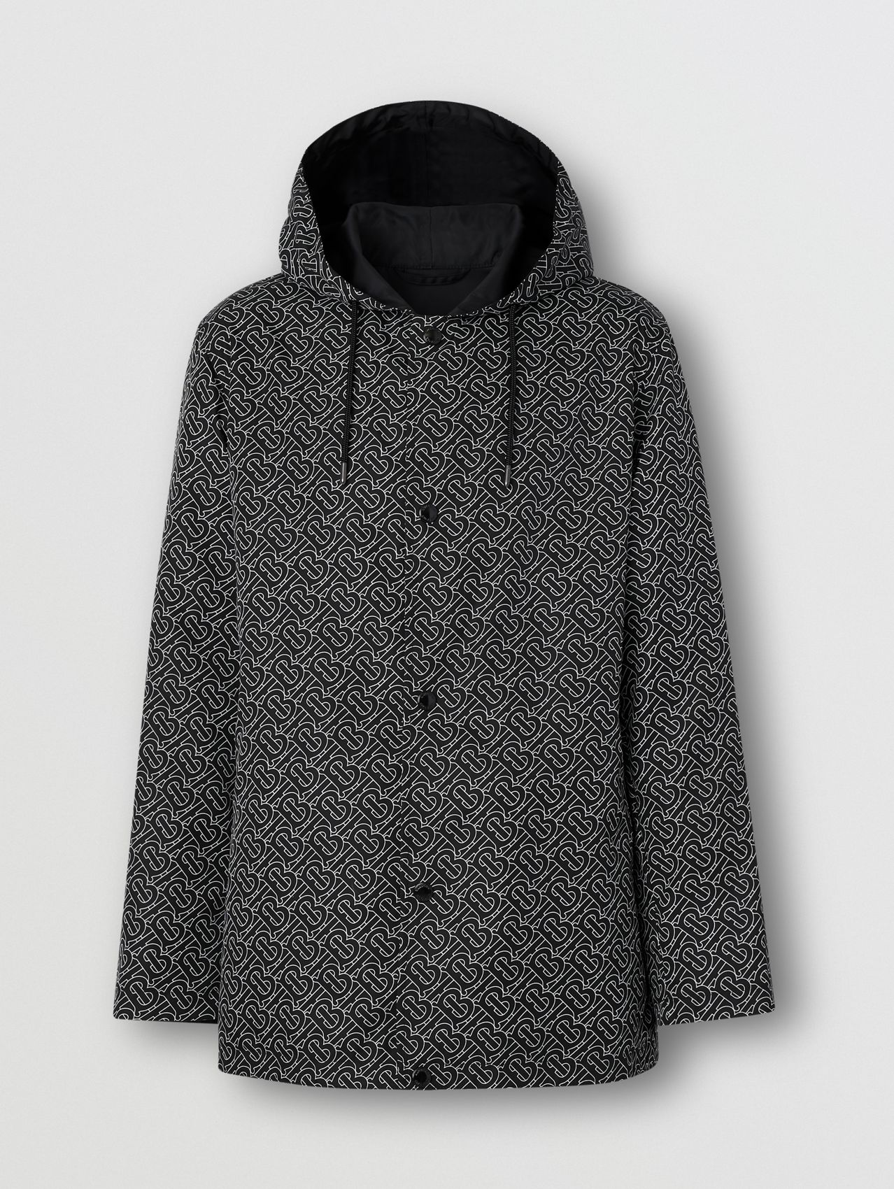 Reversible Monogram Print ECONYL® Hooded Jacket in Black/white
