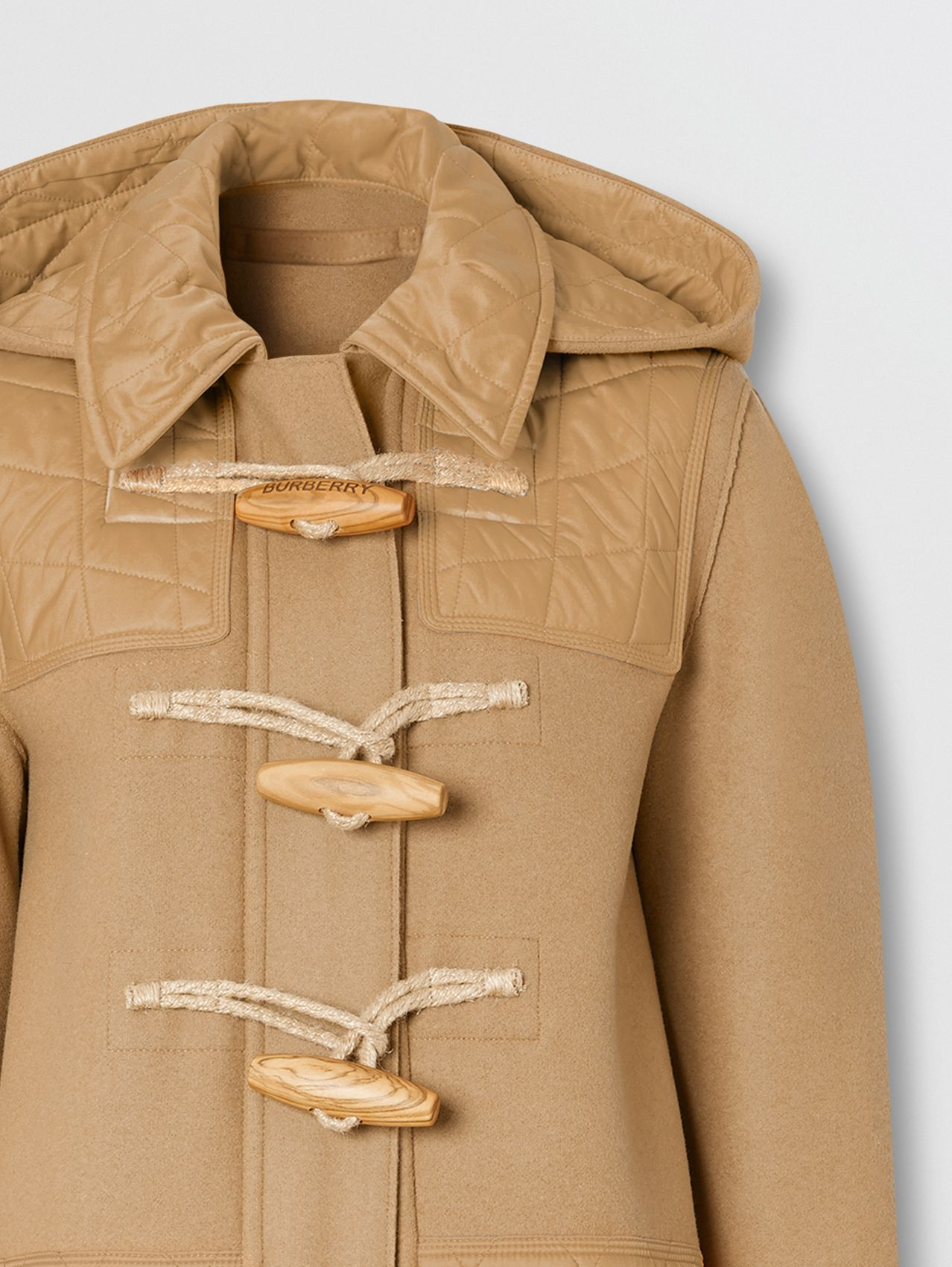 Diamond Quilted Panel Technical Wool Duffle Coat in Camel