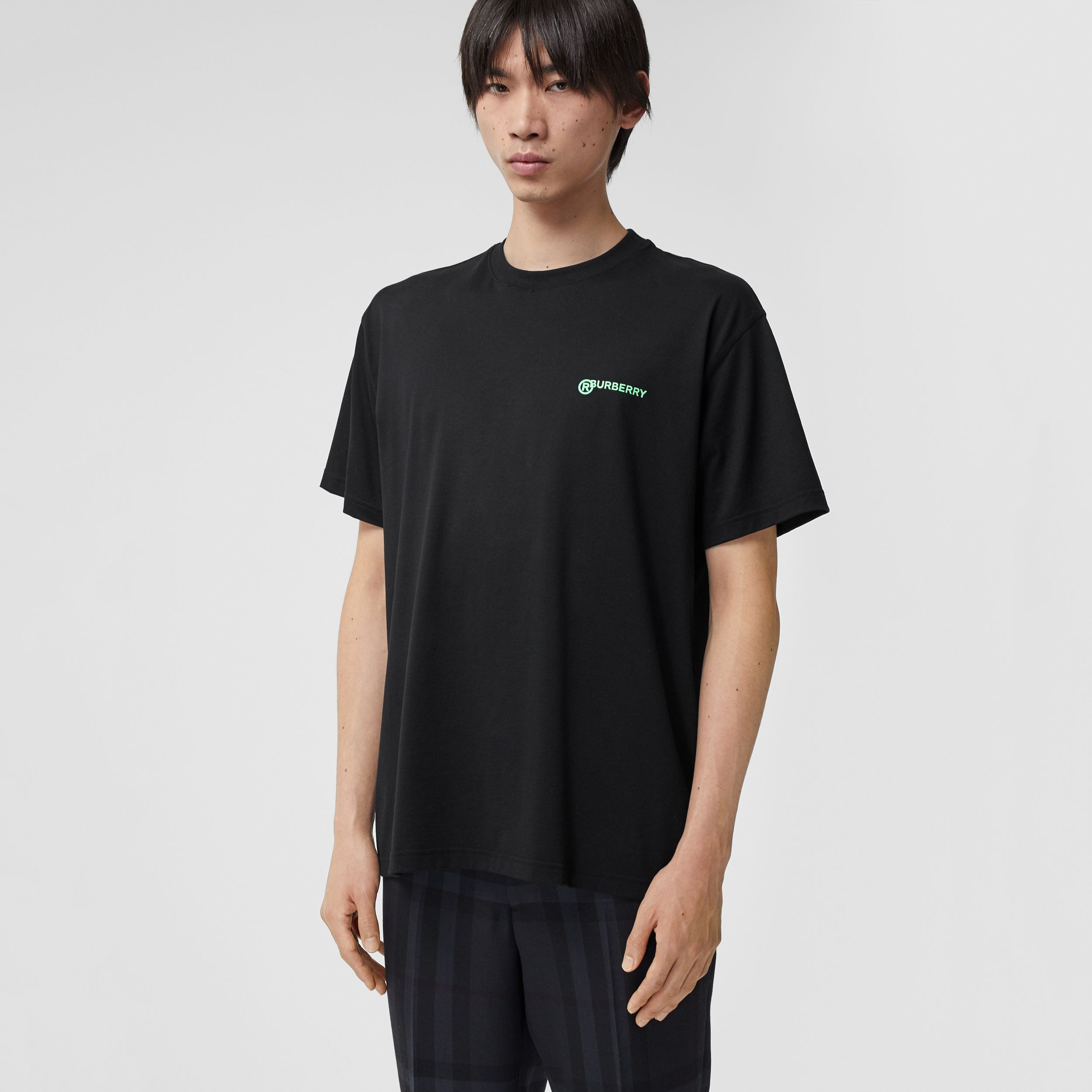 Slogan Print Cotton Oversized T-shirt in Black - Men | Burberry - 1