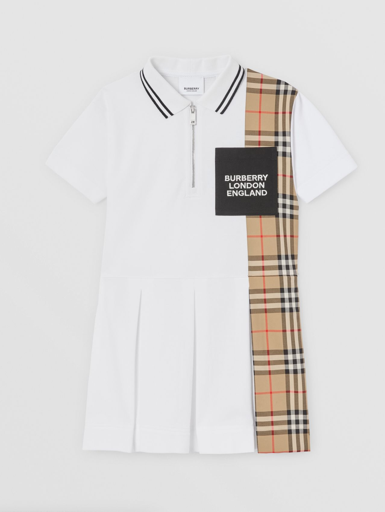 Vintage Check Panel Cotton Piqué Polo Shirt Dress in White