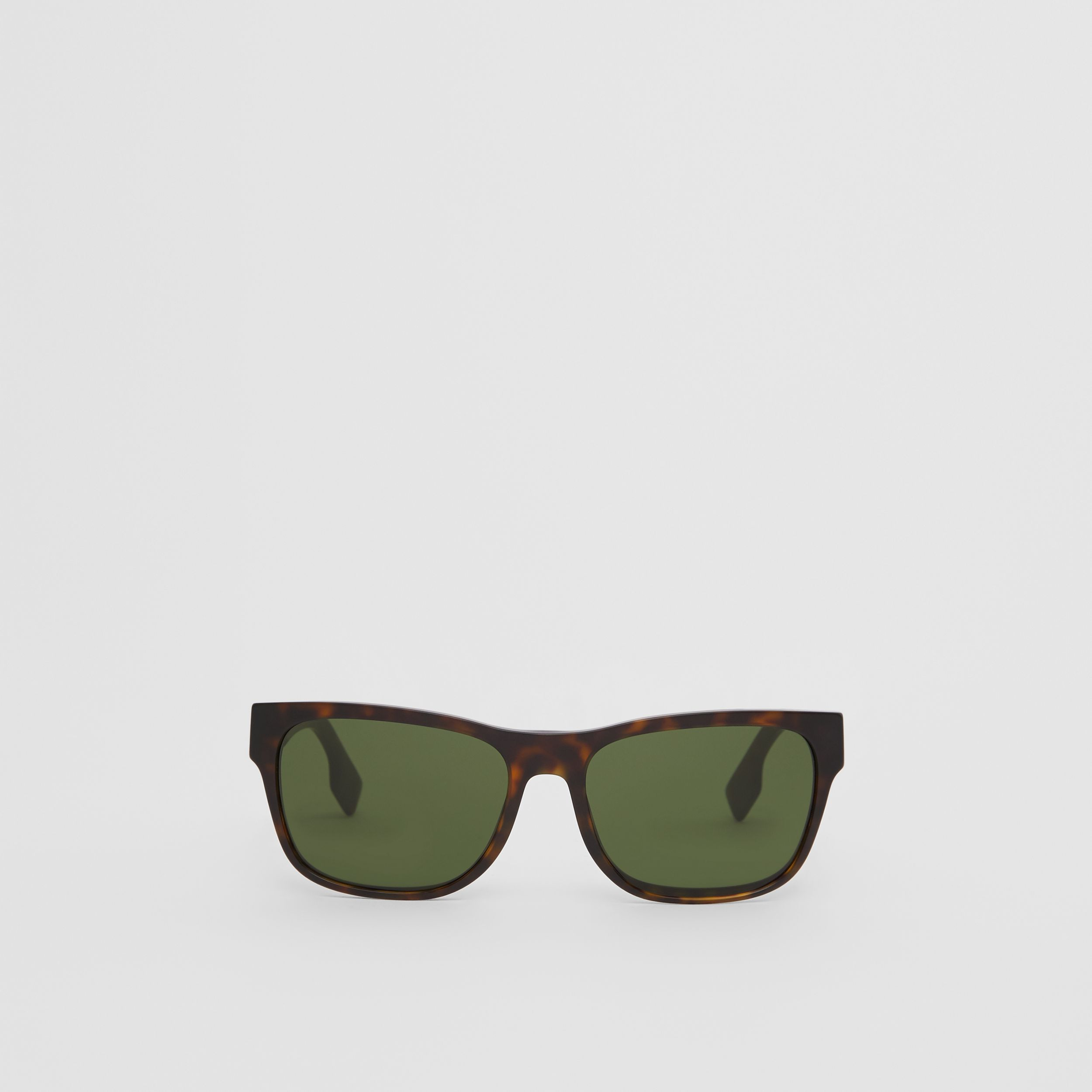 Logo Appliqué Square Frame Sunglasses in Tortoiseshell - Men | Burberry - 1