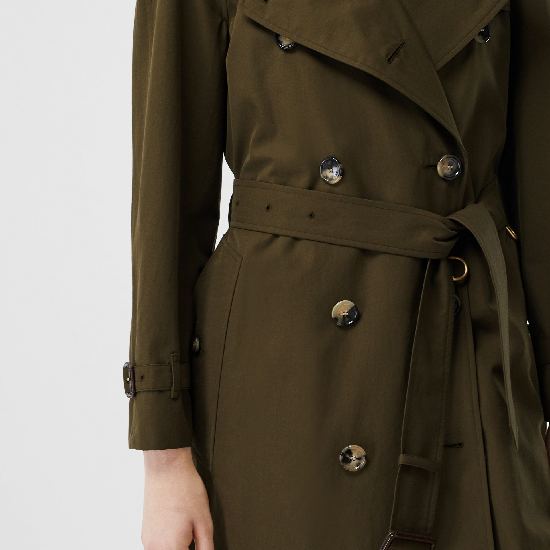Tropical Gabardine Mid-length Trench Coat in Dark Military Khaki - Women | Burberry - gallery image 11