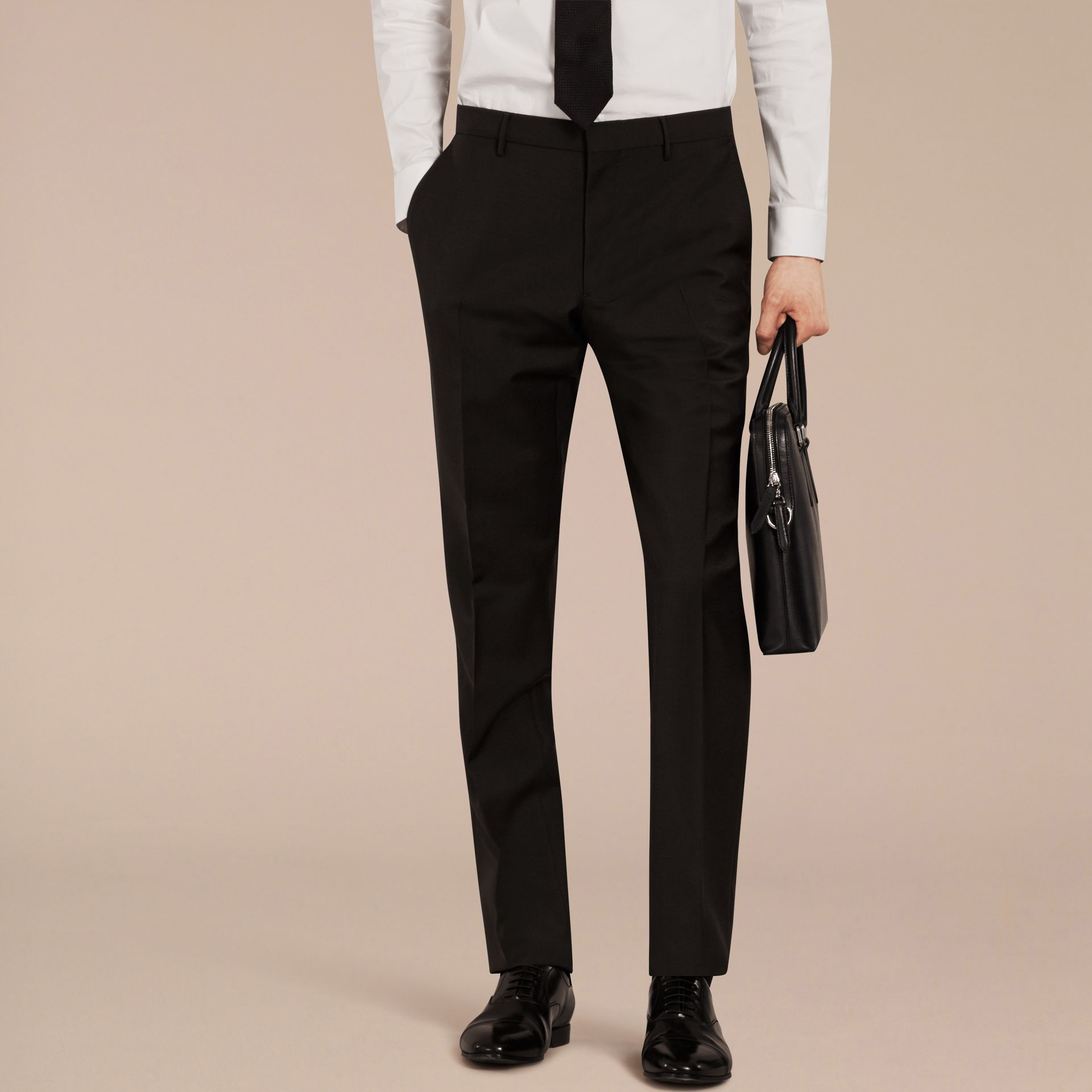Black Slim Fit Wool Mohair Trousers Black - gallery image 3