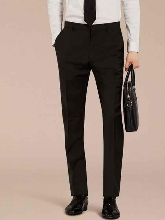 Black Slim Fit Wool Mohair Trousers Black - cell image 2