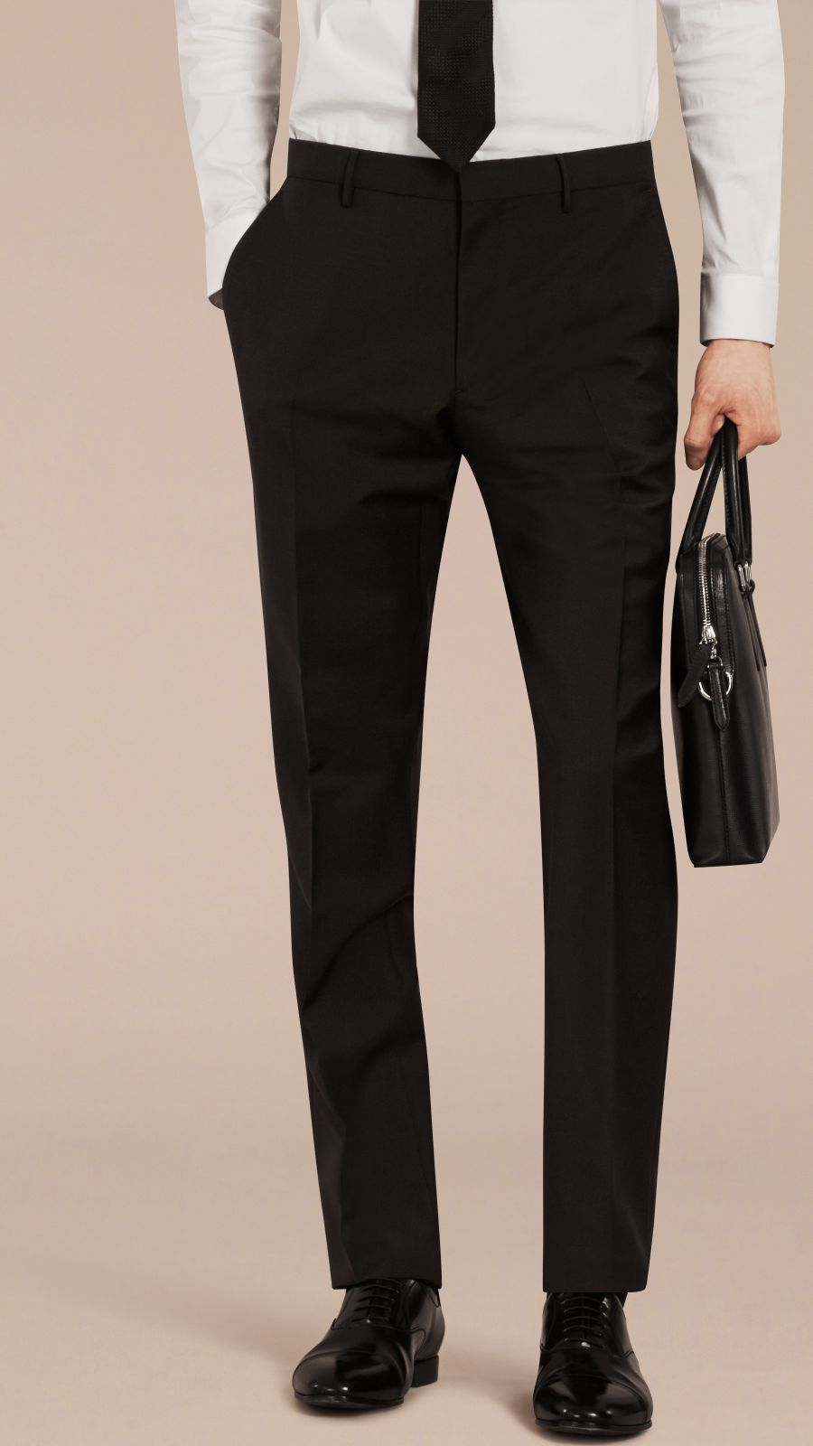 Black Slim Fit Wool Mohair Trousers Black - Image 3