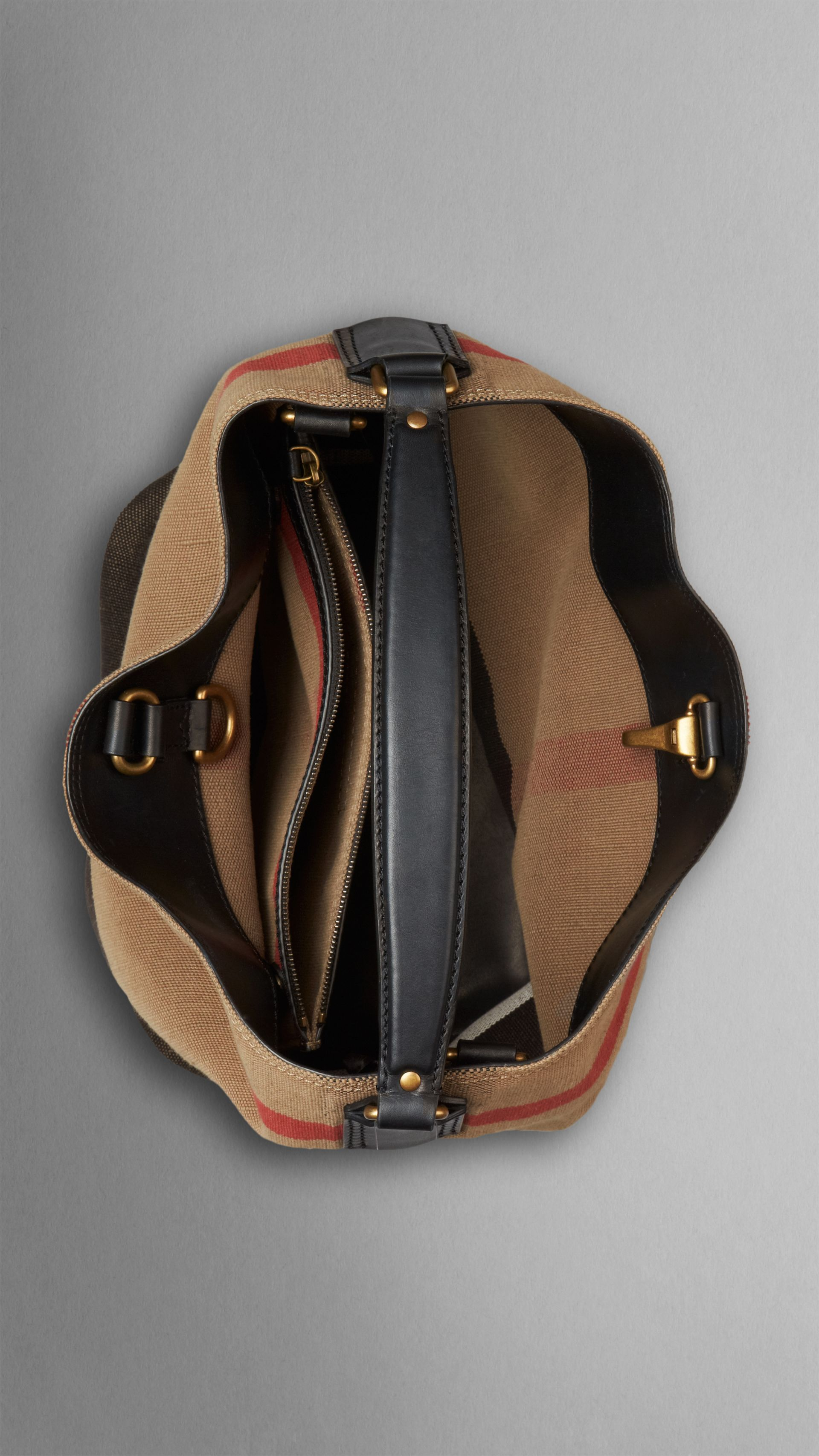 Medium Canvas Check Hobo Bag in Black - Women | Burberry - gallery image 4