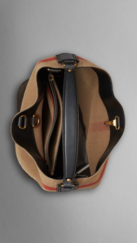 Medium Canvas Check Hobo Bag in Black - Women | Burberry - cell image 3