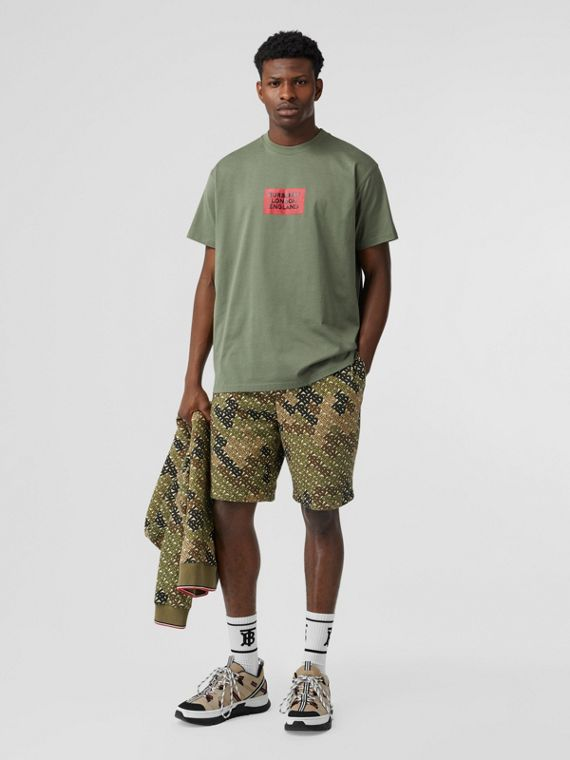 Logo Print Cotton Oversized T-shirt in Dark Moss