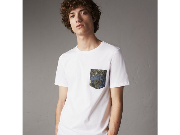 Beasts Jacquard Pocket Detail Cotton T-shirt in White - Men | Burberry - cell image 4